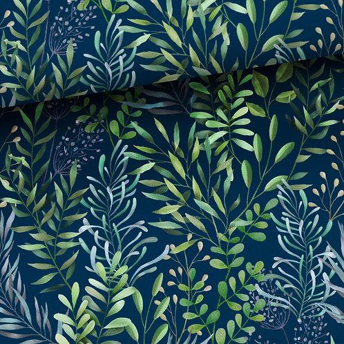 0.5m Jersey Zweige grün-blau