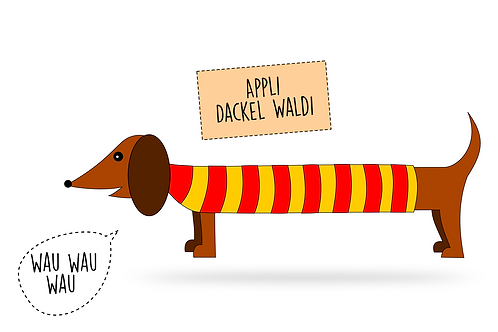 Applikationsvorlage Dackel Waldi