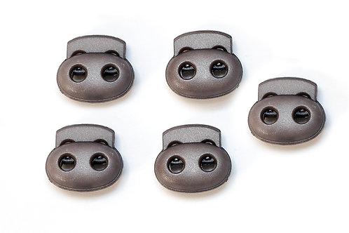 2-Loch-Kordelstopper grau (1 Stück)