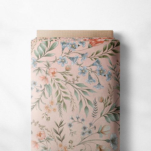 0.5m French Terry Vintage Blumen pink