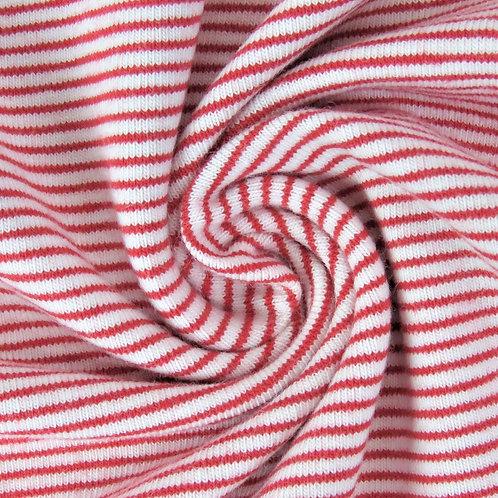 0.5m Jersey Mini Stripes rot-weiß