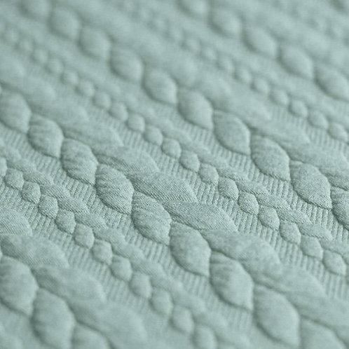 0.5m Jacquard-Strickstoff Zopfmuster meergrün