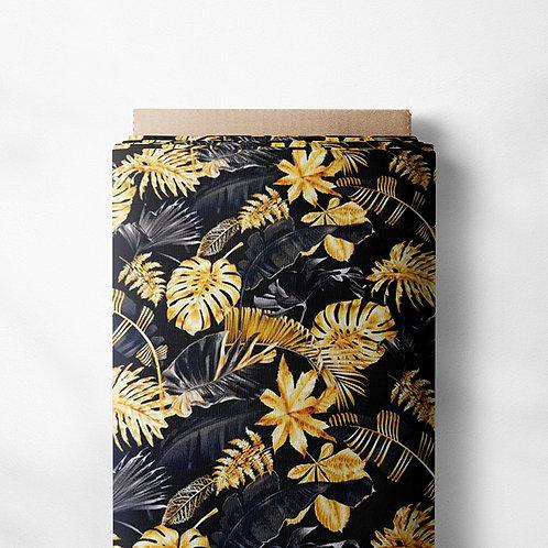 0.5m French Terry Monstera Blätter gold schwarz