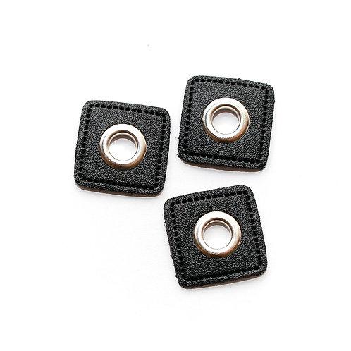 Kunstleder-Öse Patch schwarz-silber 8mm