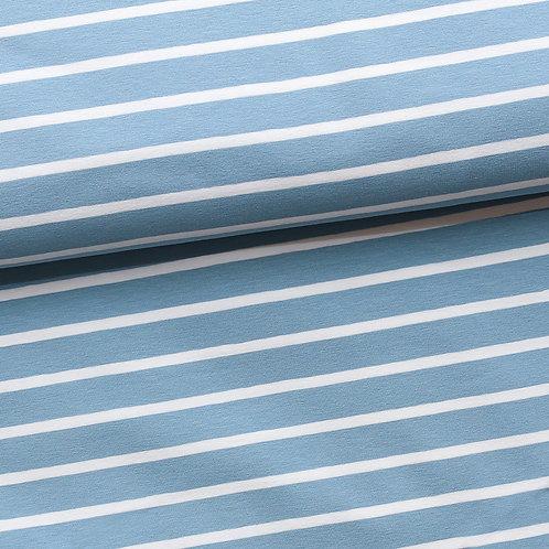 0.5m Biojersey Streifen hellblau-weiß 15/5mm GOTS