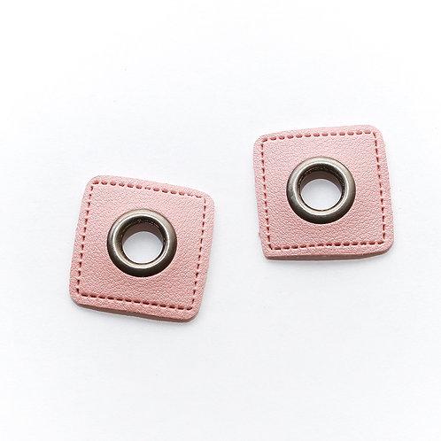 Kunstleder-Öse Patch rosa-nickel 14mm