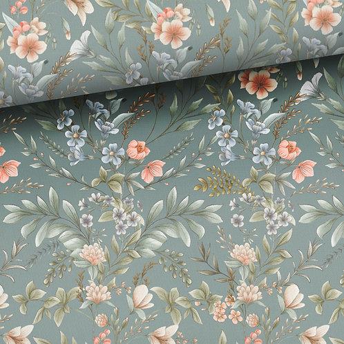 0.5m French Terry Vintage Blumen altmintgrün