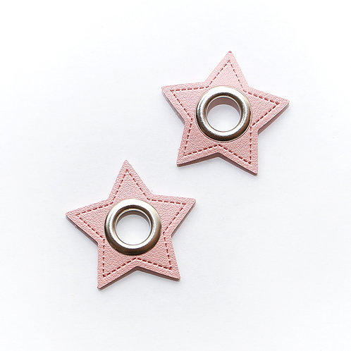 Kunstleder-Öse Stern rosa-silber 11mm