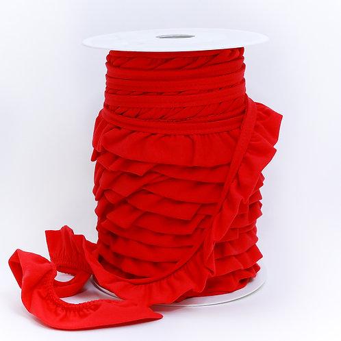 Jersey Volantrüschen rot 30mm (1 Meter)
