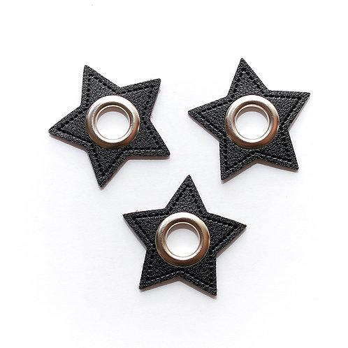 Kunstleder-Öse Stern schwarz-silber 11mm