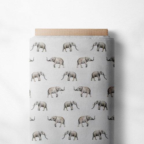0.5m Baumwolljersey Elefantenfamilie