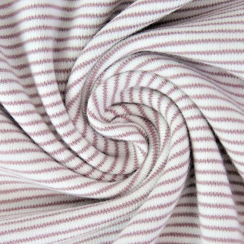 0.5m Jersey Mini Stripes altrosa-weiß