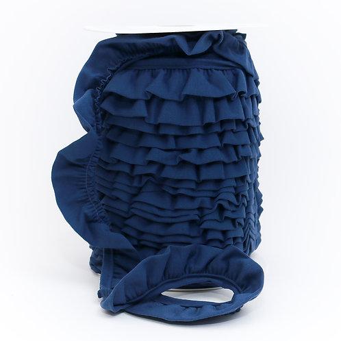 Jersey Volantrüschen jeansblau 30mm (1 Meter)