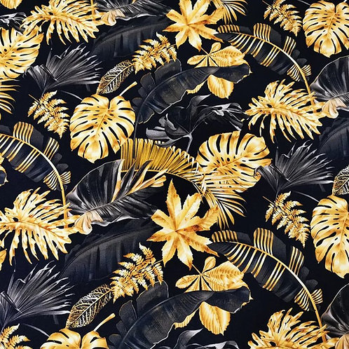 0.5m French Terry Monstera Blätter gold schwarz
