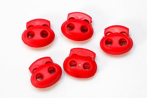 2-Loch-Kordelstopper rot (1 Stück)