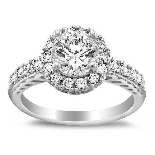 14k White Gold 1 1/10ct TGW Round-cut Diamonette Engagement Ring