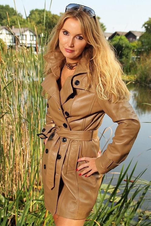 Elegant Leather Trench Coat
