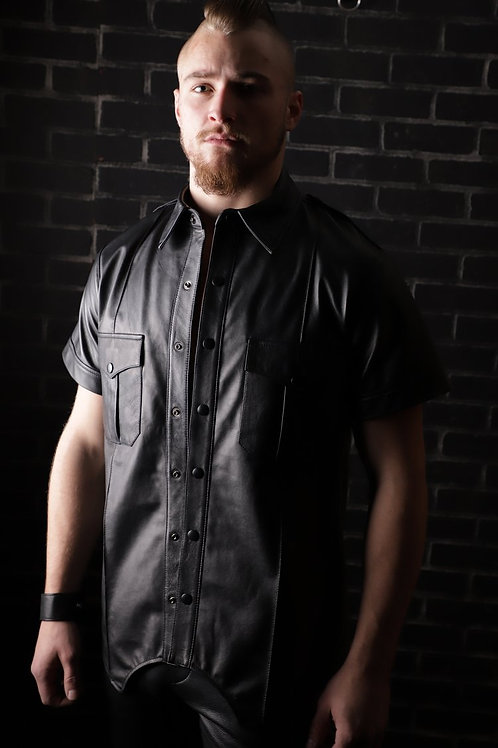 Short Sleeve Police Shirt with Contrast Piping