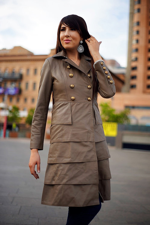 Fit and Ruffle Leather Dress