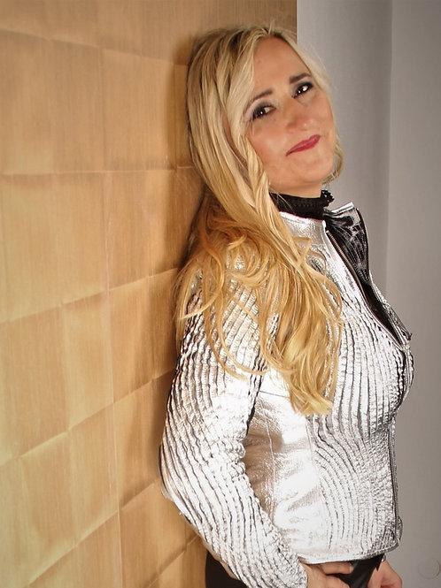 LUXURY!!! Silver Leather Jacket