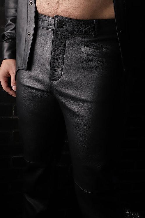 Leather Uniform Pants with Contrast Stripe