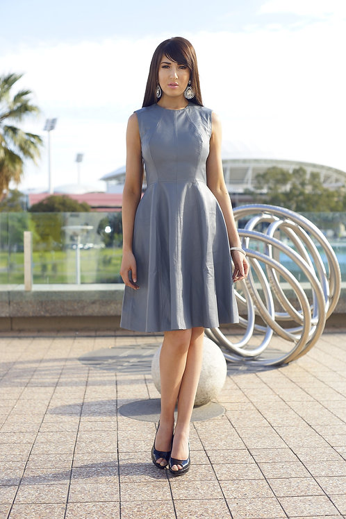 Fit and Flare Sleeveless Leather Dress
