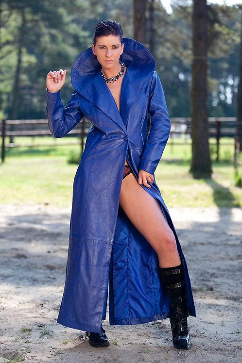 Shawl Collar Women Leather Long Coat