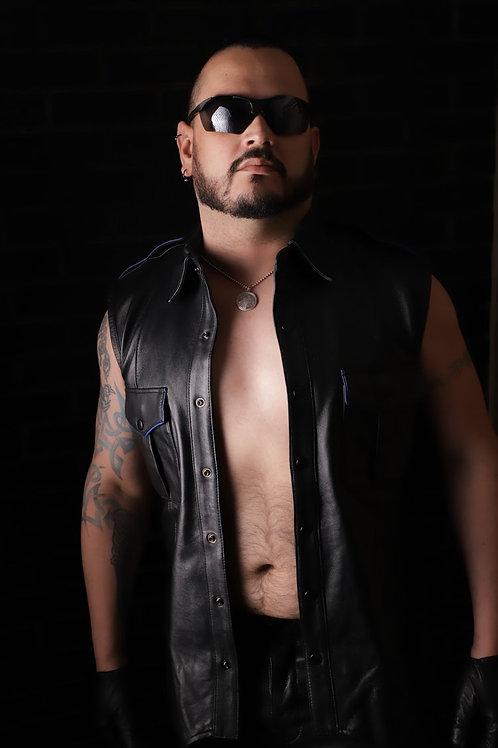 Sleeveless Leather Police Shirt