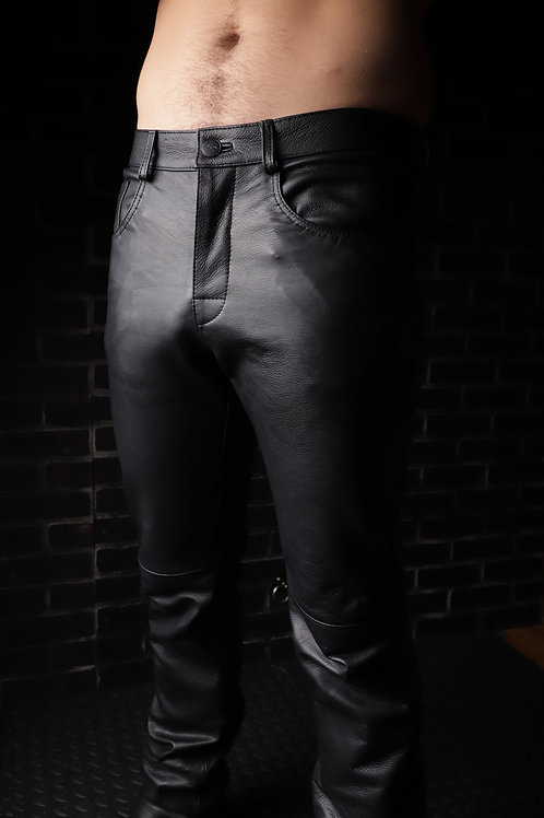 Low-Rise Button Fly Leather Jeans
