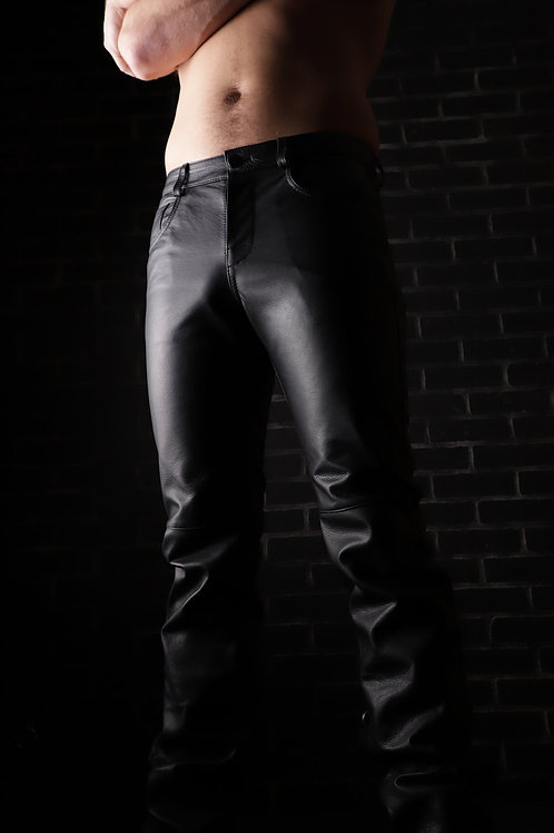 Low-Rise Zipper Fly Leather Jeans