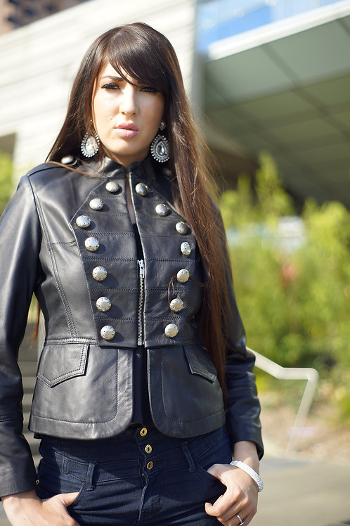 Women Military Steampunk Leather Jacket