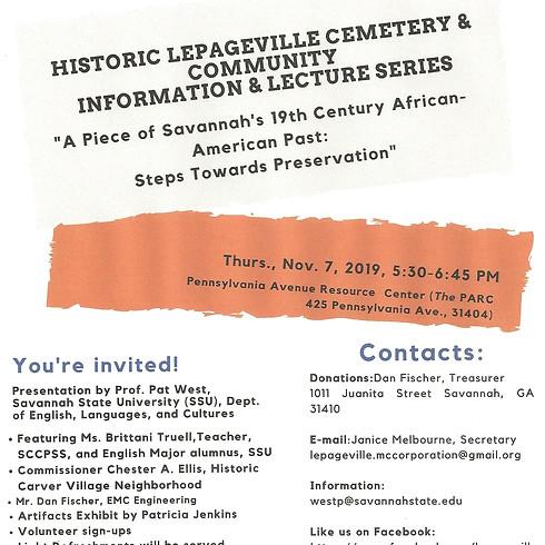 Historic LePageville Cemetery & Community Lecture Series Presentation