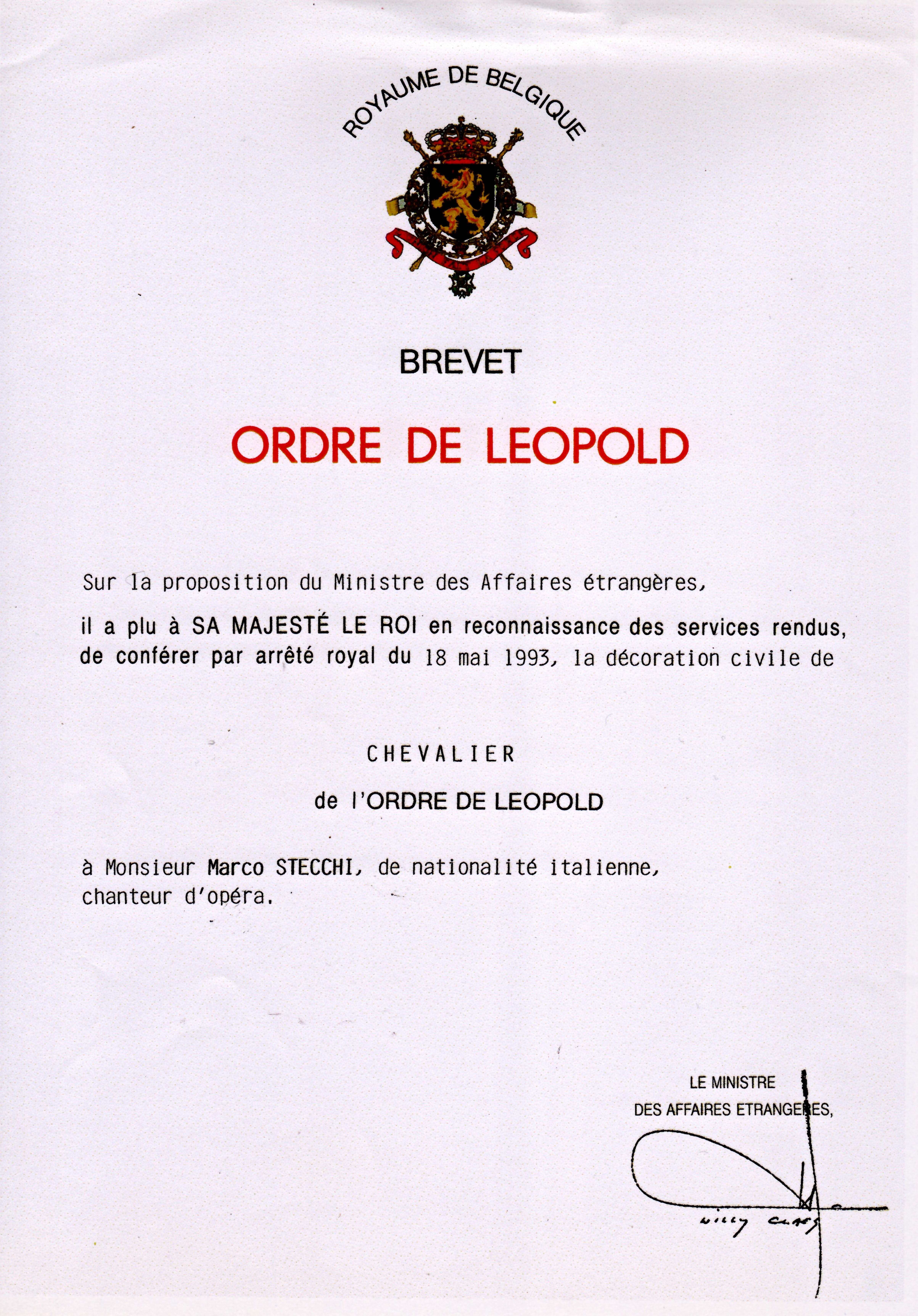 ORDRE DE LEOPOLD