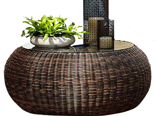 Outdoor- Round Wicker Coffee Table
