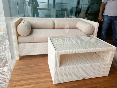 White wash outdoor sofa with table