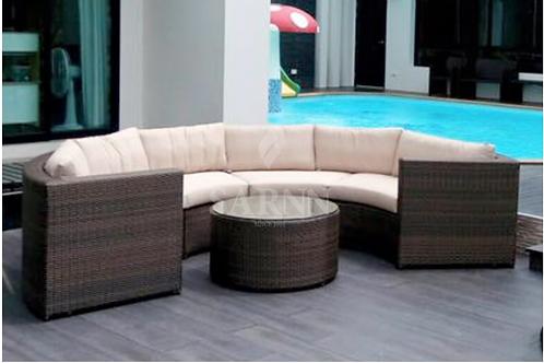 Round A Brown Sofa Set ชุดโซฟาหวายเทียม