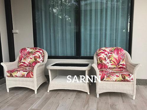Oriental White Patio Set ชุดนั่งเล่นหวายเทียมนอกบ้าน