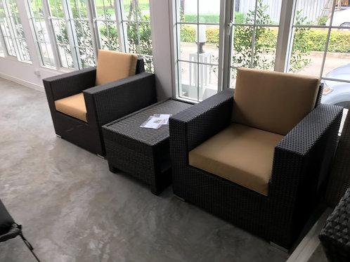 Brass Double Chairs Set ชุดเก้าอี้โซฟาหวายเทียม