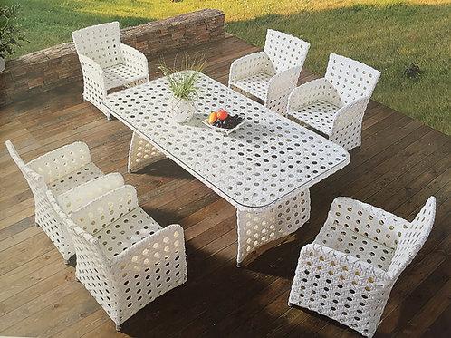 White outdoor ชุดรับประทานอาหารหวายเทียม