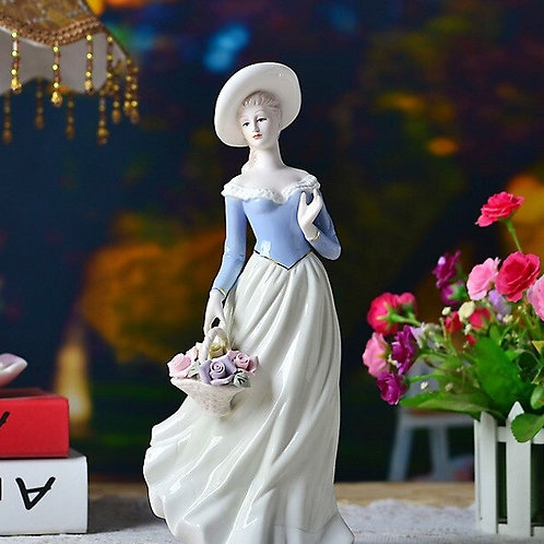 Elegant Women / Lady with Flower Statue (High Quality Finishing)
