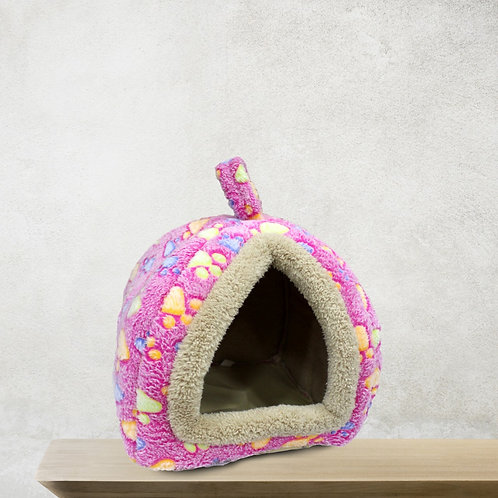 Plush Pink Soft House Design Bed for Pet (LARGE)