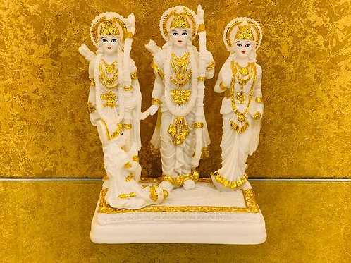 Subtle White Gold Colour Lord Rama Sita Laxman and Hanuman in Relegious Idol