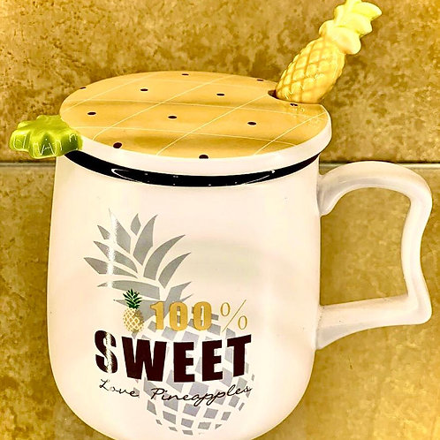 Exclusive Mug with a Cute Pineapple Spoon and Lid
