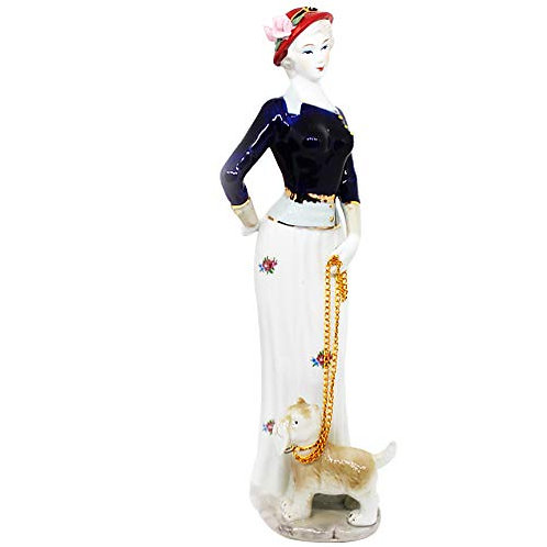 English Style High Quality Finish White Woman & Dog Show Statue