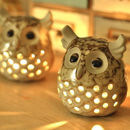Owl Illuminating Candle Holder and Showpiece Set of 3 (Small + Medium +Large)