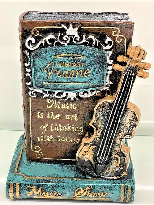Vintage Book with Guitar Showpiece