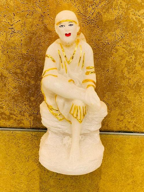 Subtle White Gold Colour Sai Baba Statue