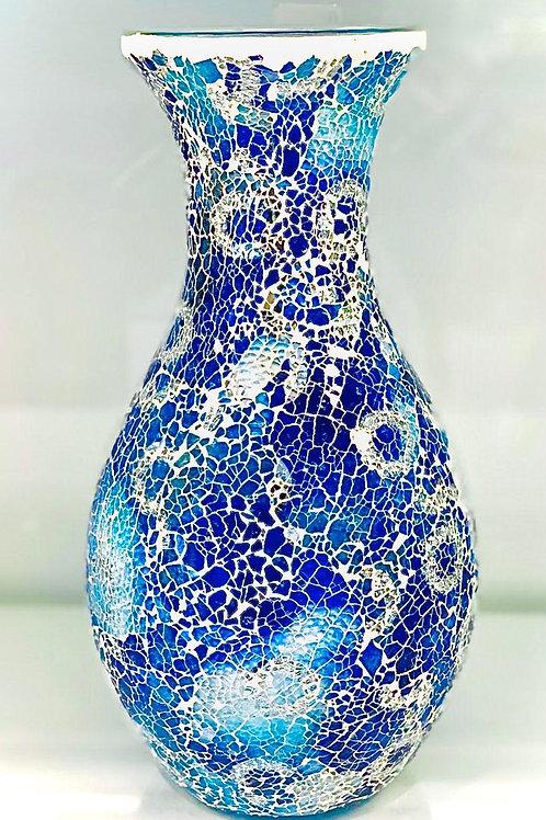 Classy Looking Sparkling Blue White colour Flower Vase