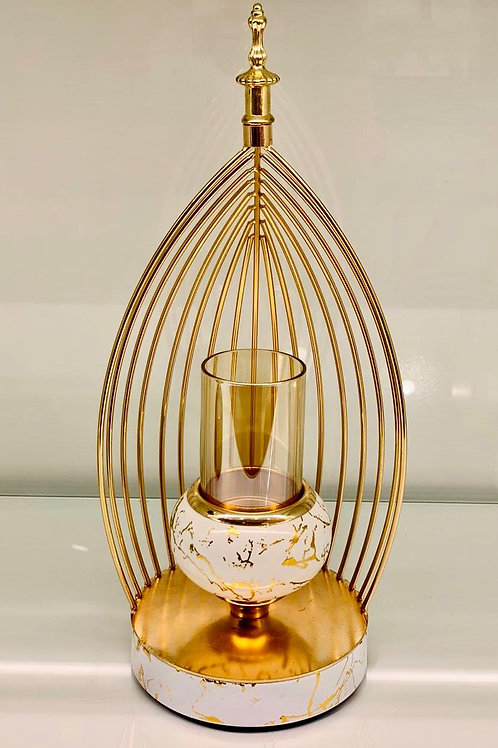 Retro Design Candle Holder with Golden Finish and Glass