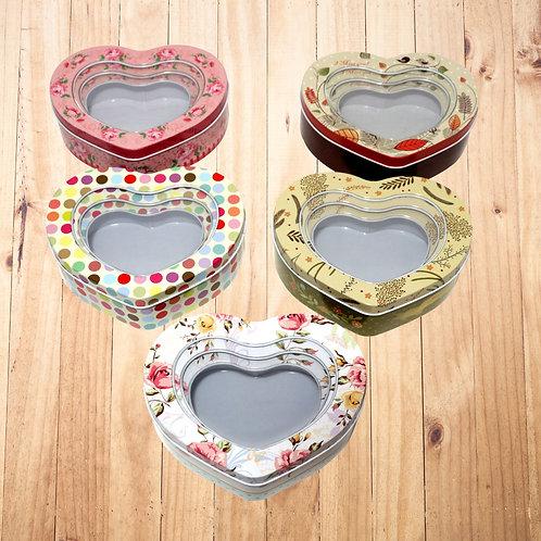 Heart-Shaped Designer Tin Storage Box (Set of 3)
